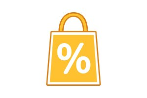 Shopping bag with percent color icon