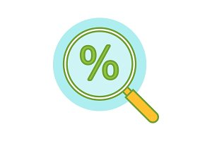 Magnifying glass with percent icon
