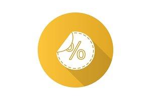 Round sticker with percent icon