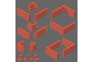 set of isometric masonry items