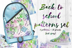 Back to school watercolor patterns