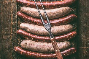 Beef and pork sausages for grill