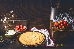 Homemade crepes with strawberries