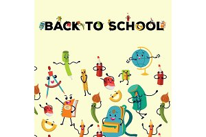 Back to school flat poster