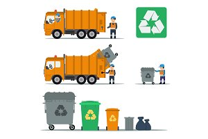 Garbage set of trucks workers and