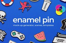 Enamel Pin Mock-ups  by  in Product Mockups