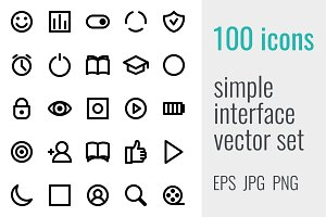 100 simple interface icons