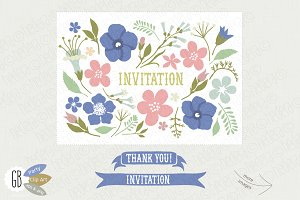 Folk flowers invite blue