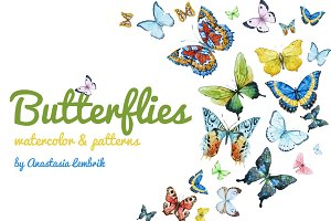 Watercolor butterflies +PNG!