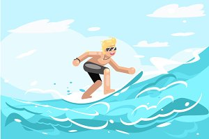 Surfer character ride surfboard