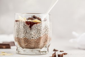 Chia pudding with chocolate, almonds