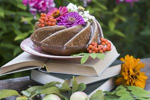 homemade bundt cake on a old table