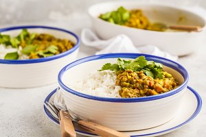 Lentil curry with rice