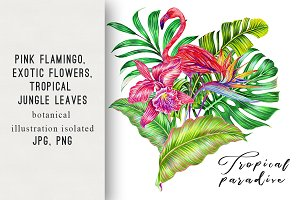 Tropical exotic illustration print