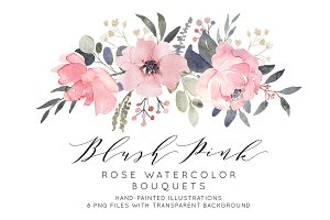 Dusty pink watercolor bouquets