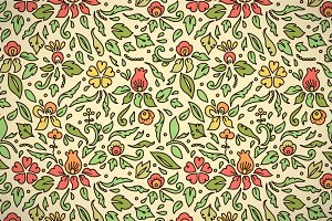 Colorful flowers and leaves pattern