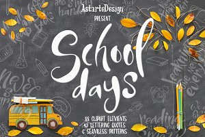 School days-clipart+lettering
