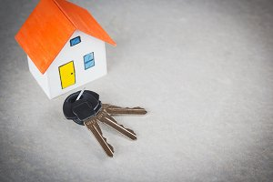 orange house with key.