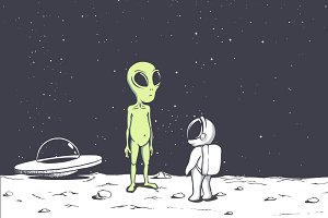 meeting of an alien and an astronaut