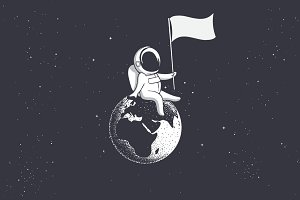 Astronaut holds  flag on Earth