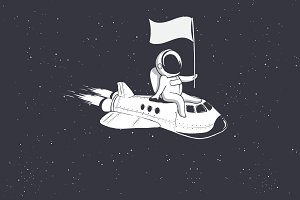 Astronaut holds a flag on shuttle