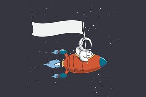 Astronaut holds a flag in rocket