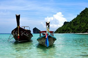 Wooden longtail boats in Thailand