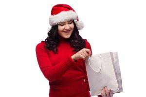 lovely brunette girl with santa hat