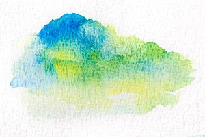 Green wet Watercolor Wash.
