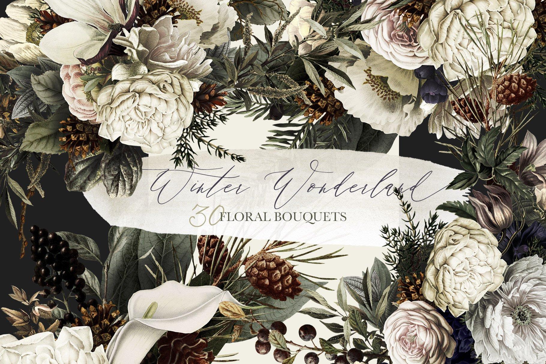 Winter Wonderland Floral Bouquets Illustrations Creative Market