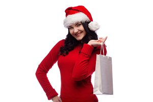 Woman Christmas hat holding bag