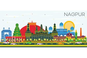 Nagpur India City Skyline with Color