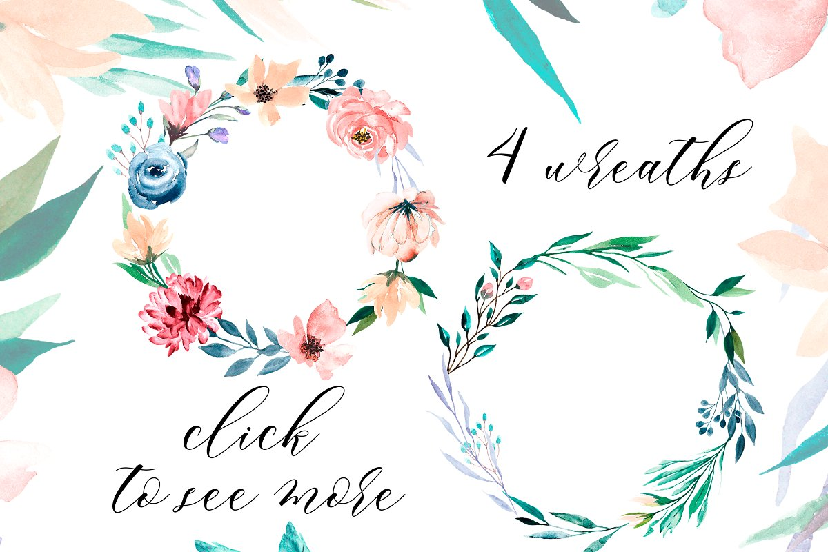 Watercolor flower set, hand drawn. in Illustrations - product preview 1