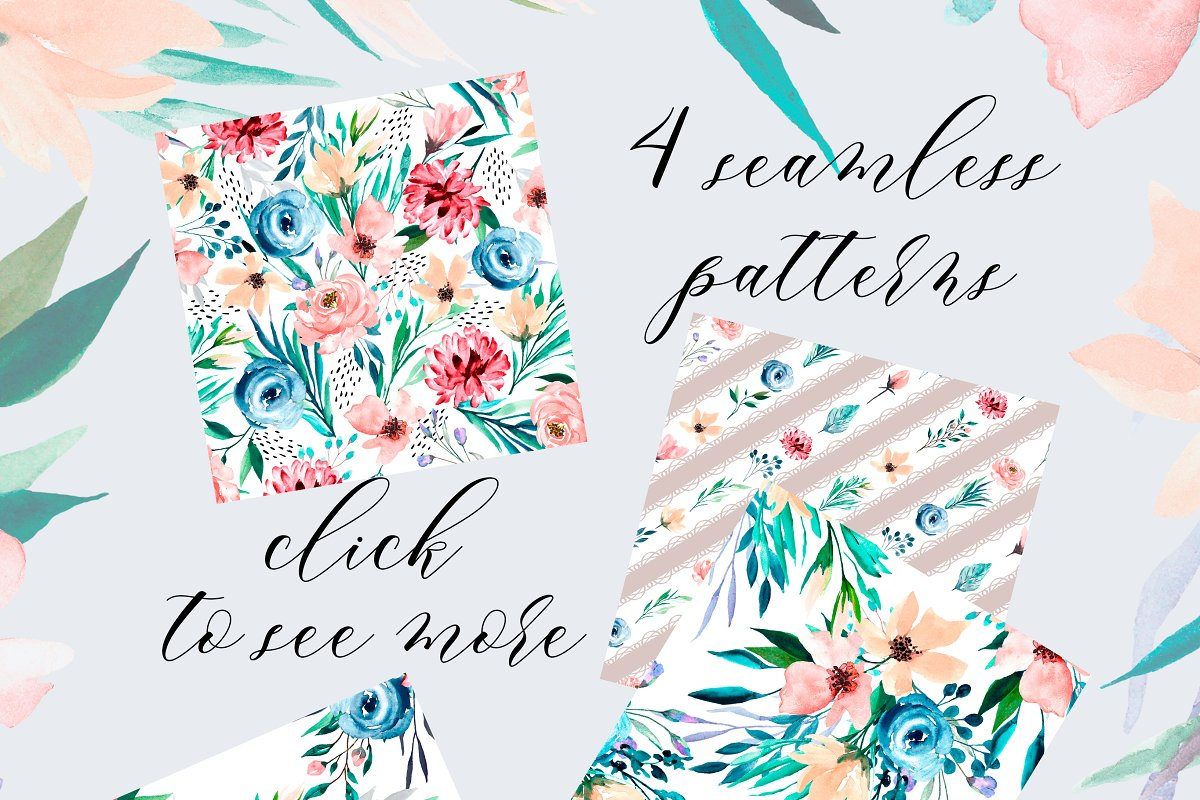 Watercolor flower set, hand drawn. in Illustrations - product preview 3