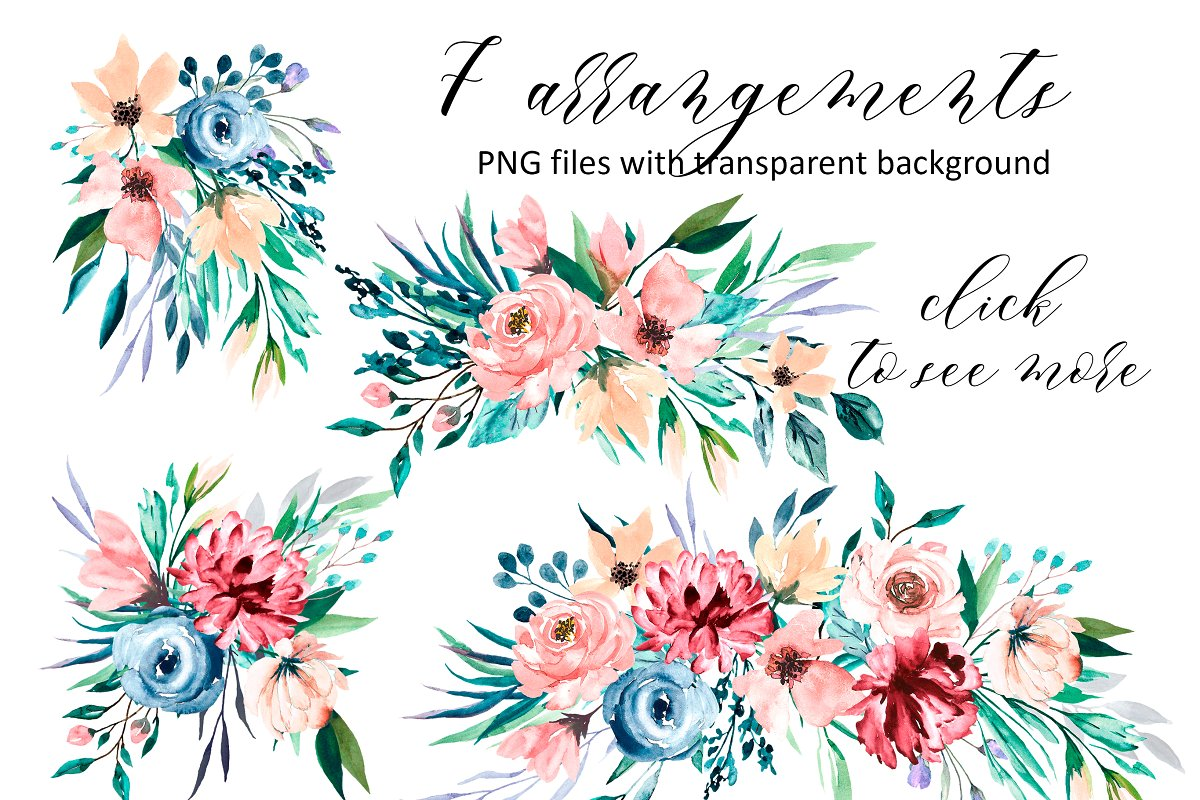 Watercolor flower set, hand drawn. in Illustrations - product preview 4