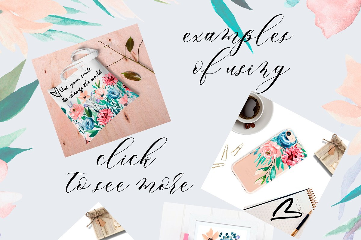 Watercolor flower set, hand drawn. in Illustrations - product preview 6