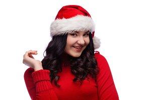 portrait of happy woman in santa hat