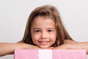 Portrait of a small girl in studio