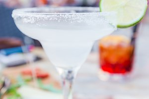 Classic lime margarita cocktail
