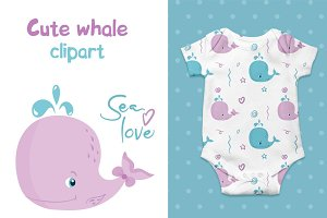 Cute Whales vector nursery clipart