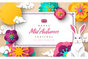 Mid autumn bright banner
