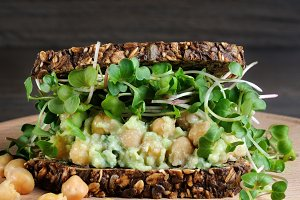 Chickpea Avocado Sandwich   sprouts