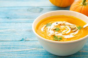 Pumpkin and carrot soup with parsley
