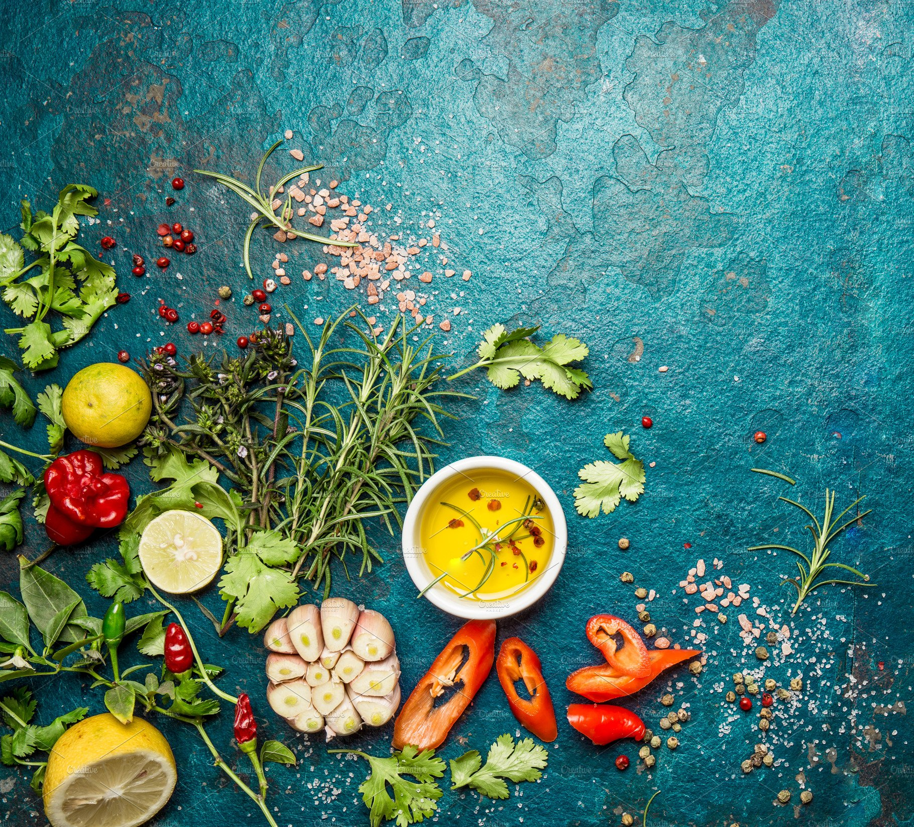 Fresh herbs and spices on blue ~ Food Images ~ Creative Market