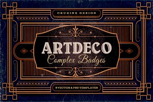 11 ArtDeco Badges & Frames