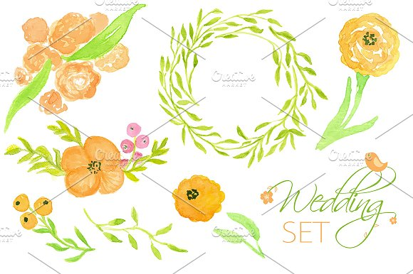 Wedding Floral Set. Watercolor Cards - Illustrations