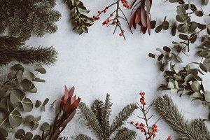 Christmas foliage flatlay background