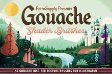 Gouache Shader Brushes | Illustrator by  in Brushes