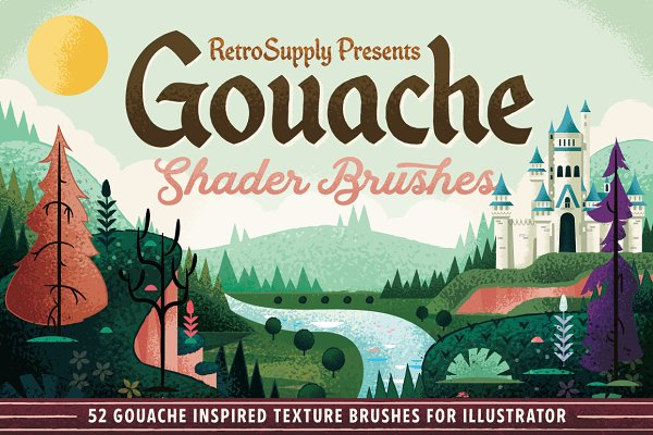 Add-Ons: RetroSupply Co. - Gouache Shader Brushes | Illustrator