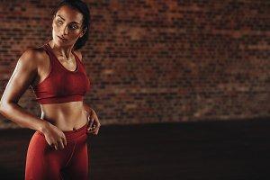 Sportswoman during workout break